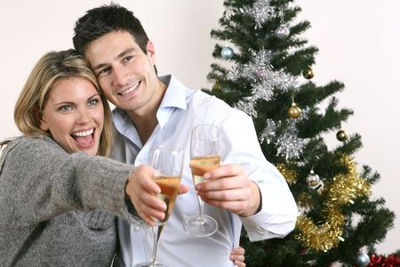 Man and woman toasting drinks Stock Photo - 2966225