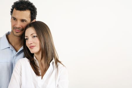 healthy llifestyle: Man and woman daydreaming, looking away Stock Photo