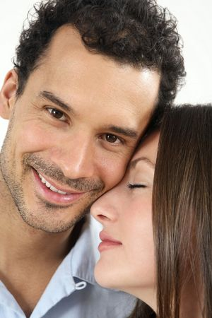 healthy llifestyle: Man with his face close to woman while looking at camera