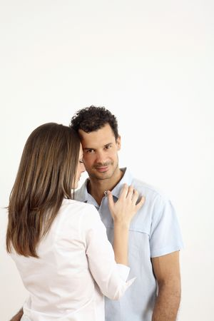 healthy llifestyle: Man and woman together, man looking at the camera