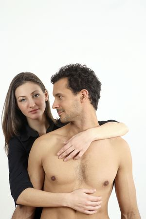 Woman hugging man from behind Stock Photo - 2966248
