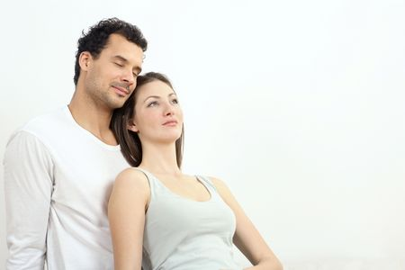 Woman leaning against man's chest Stock Photo - 2966250