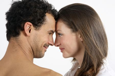 Man and woman staring at each other, face to face Stock Photo - 2966264