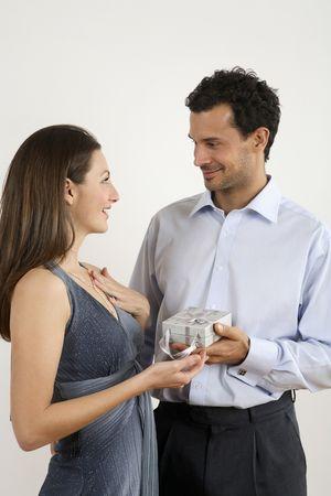 healthy llifestyle: Man giving woman a present