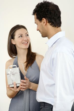 Man giving woman a present Stock Photo - 2966281