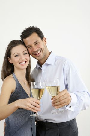 healthy llifestyle: Man and woman toasting with champagne