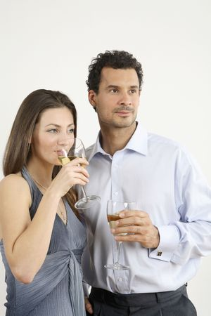 healthy llifestyle: Man and woman having champagne LANG_EVOIMAGES