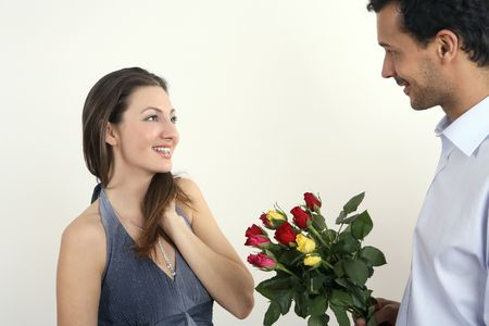 healthy llifestyle: Man giving a bouquet of flowers to his girlfriend