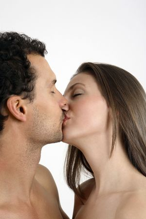 passionate kissing: Man and woman kissing