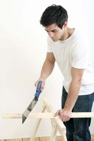 Man sawing wood Stock Photo - 2966308