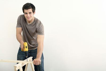 Man drilling wood Stock Photo - 2966316