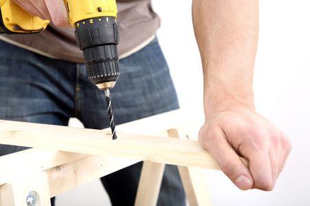 Man drilling wood Stock Photo - 2966317