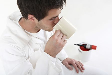 Man drinking a cup of tea, taking a break Stock Photo - 2966348