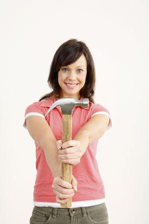 Woman holding hammer Stock Photo - 2966363
