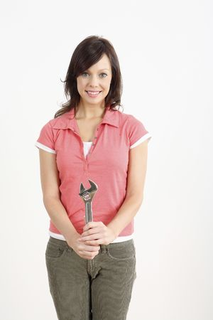 Woman with an adjustable spanner Stock Photo - 2966369