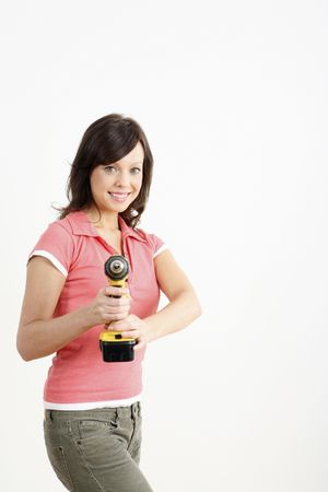 Woman posing with a power drill Stock Photo - 2966377