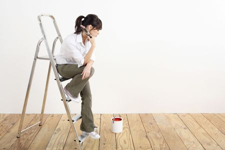 Woman with paintbrush sitting on a ladder Stock Photo - 2966397