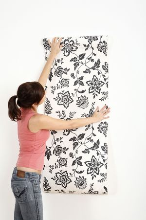 Woman decorating the wall with wallpaper Stock Photo - 2966424