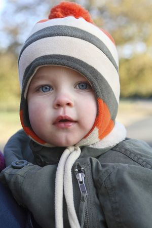 Preschooler in winter clothes in the park Stock Photo - 2966448