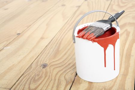 Paintbrush on a paint can