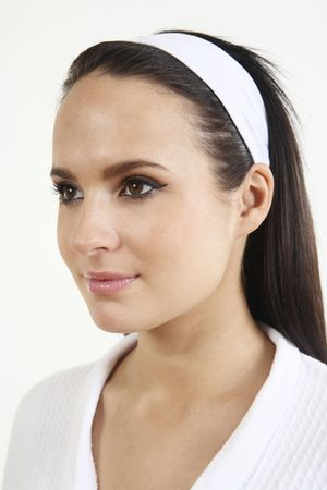 Woman in headband and bathrobe, smiling Stock Photo - 2966498