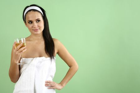 Woman wrapped in towel holding a glass champagne Stock Photo - 2966540