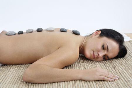 lastone therapy: Woman receiving lastone therapy