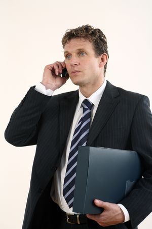 Businessman holding file while talking on the phone Stock Photo - 3198967