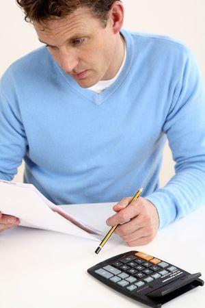 Man doing calculation