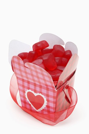 Heart shaped candies in gift box Stock fotó