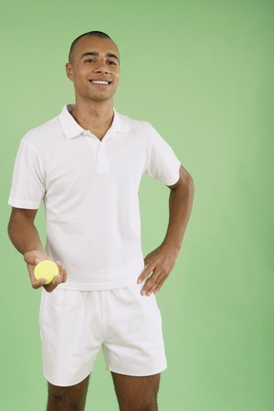Man holding tennis ball Stock Photo - 4111326