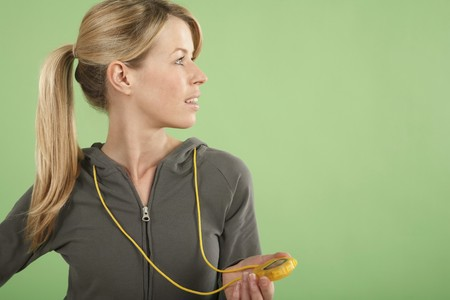 Woman holding a stopwatch