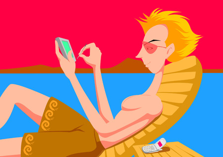 palmtop: Man sitting on lounge chair using palmtop Illustration