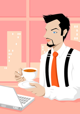 businessman working at his computer: Cartoon with career
