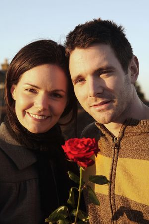 Man and woman holding flower Stock Photo - 4767077