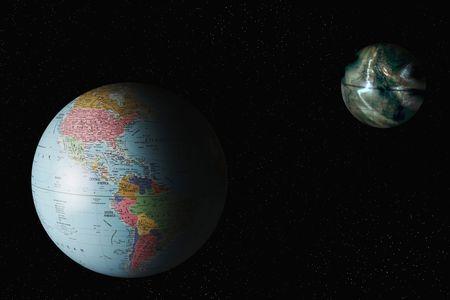Mundo y mundo contaminado en el fondo
