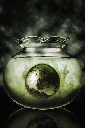 Globe in a fish bowl Stock Photo