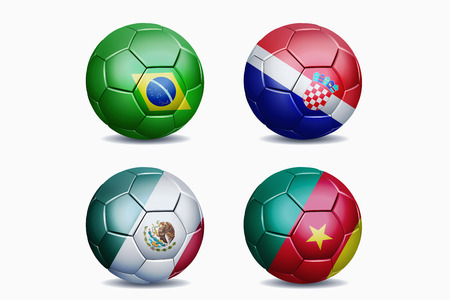 Football national team flags on soccer balls photo