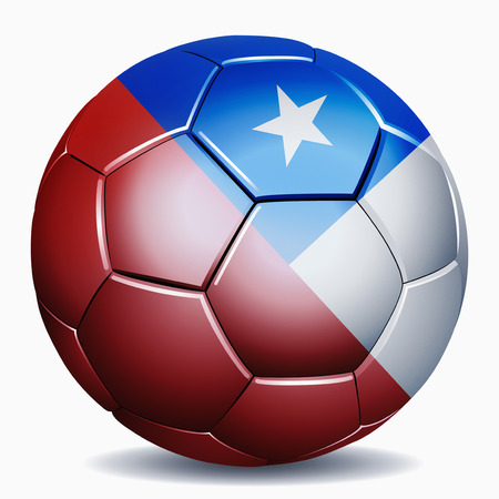 chilean flag: Chile flag on soccer ball Stock Photo