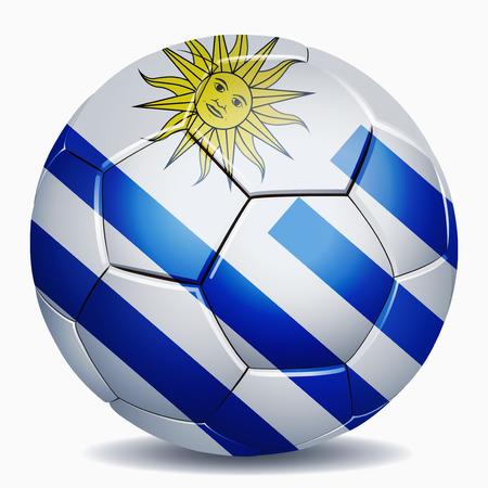 Uruguay flag: Bandera de Uruguay en bal�n de f�tbol Foto de archivo