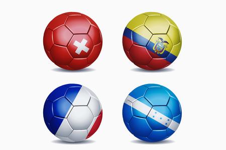 Football national team flags on soccer balls