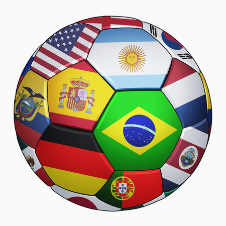Football national team flags on a soccer ball photo