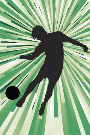 Silhouette of a footballer kicking a ball Zdjęcie Seryjne - 26736932
