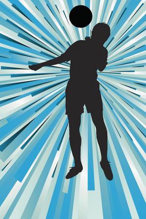 heading the ball: Silhouette of a footballer heading a ball