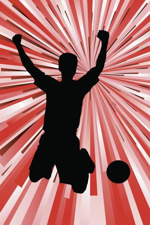 Silhouette of a footballer celebrating