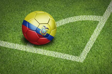 Taking a corner with Ecuador flag soccer ball Фото со стока