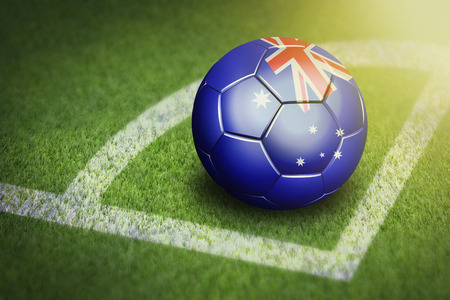 Taking a corner with Australia flag soccer ball Stock Photo - 26781893