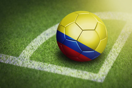 Taking a corner with Colombia flag soccer ball Stock Photo