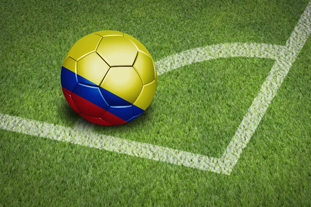 colombia flag: Taking a corner with Colombia flag soccer ball