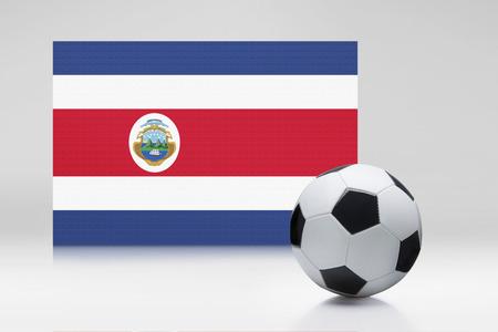 bandera de costa rica: Bandera de Costa Rica con un balón de fútbol